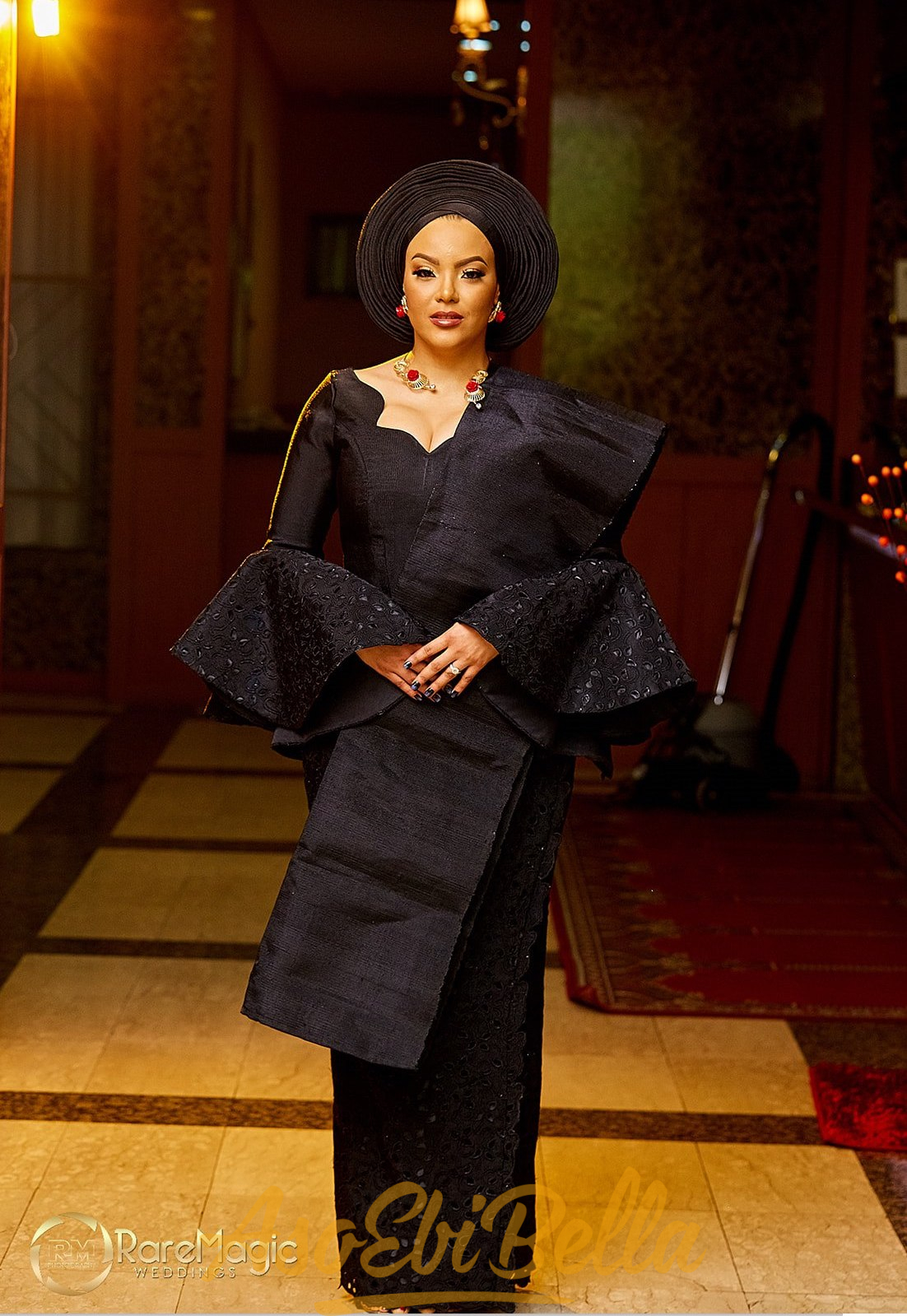 Beautiful Aso Oke In Black Two Toned And A White Wedding