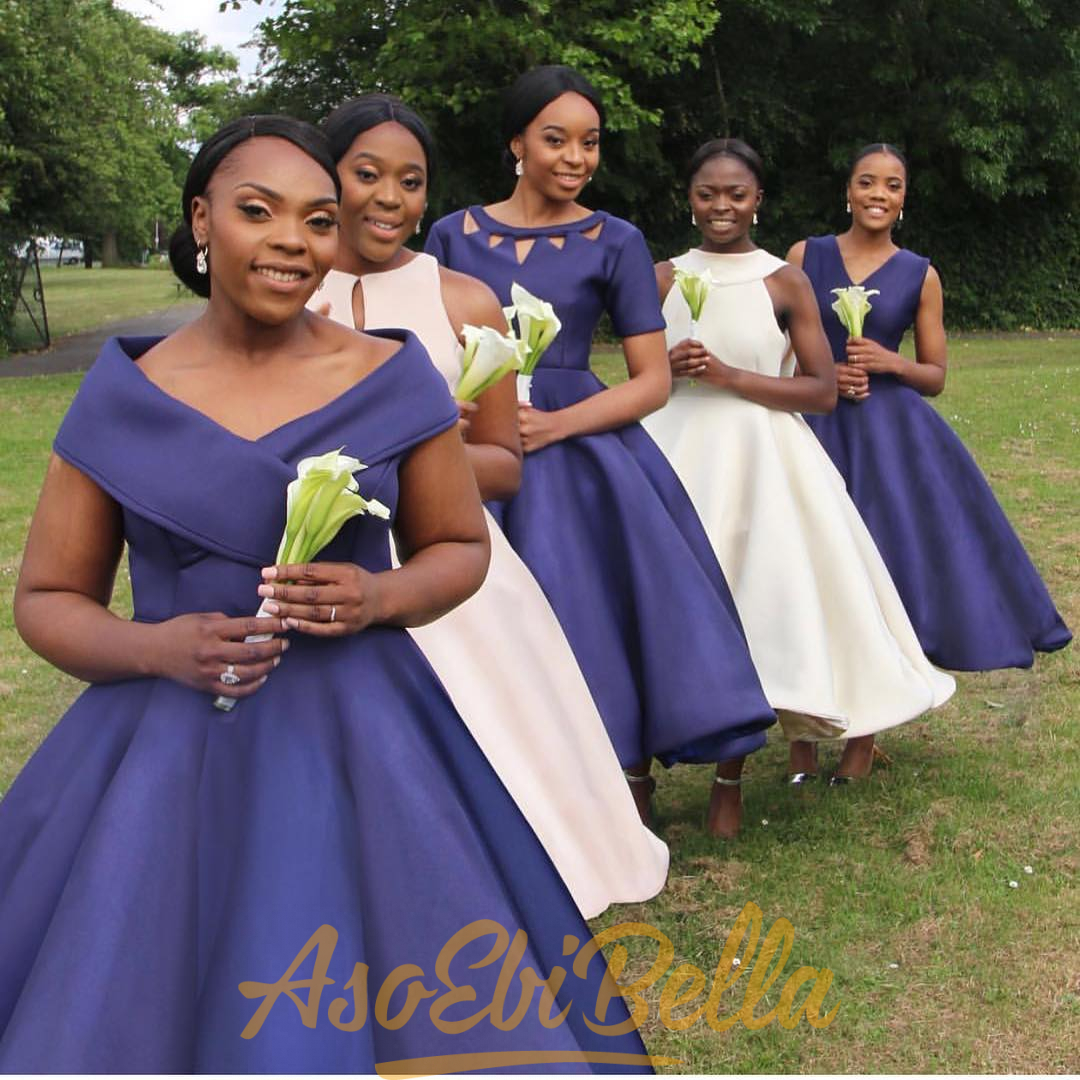 Bridesmaids in Formation in Mismatched Dresses   Aso Ebi Bella